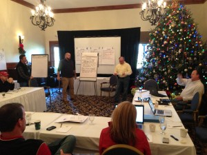 Twelve members of the HighGrove team work on its strategic plan biweekkly. Credit: HighGrove Partners