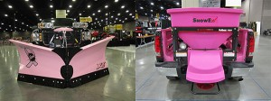A pink Fisher XV2 V-plow and a pink SnowEx SP-7550 spreader were raffled off at the 2013 GIE+EXPO as a fundraiser for breast cancer awareness. Photo: Troy Clogg.