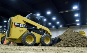 Caterpillar's D Series skid steer loader is demonstrated at a press briefing. Photo: Darren Constantino.