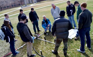 Eric Schneider of Hunter walks students through the company's irrigation systems as part of the PLANET CDS.