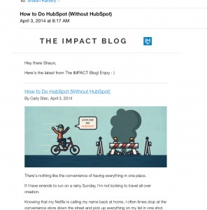 Shaun Kanary points to Impact Branding as an example of a good email newsletter. Photo: Shaun Kanary