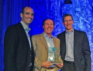 From left: RISE President Aaron Hobbs; Mark Schlossberg, ProLawnPlus president; RISE Chairman Steve Gullickson. Photo: RISE