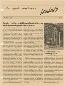 A Lambert's newsletter announcing the company's shift to organic lawn care.