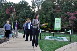 Margaret Pooler, research leader for Grass Roots, addresses attendees at the grand opening. Photo: Grass Roots