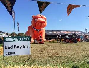 A blow-up mascot marks Bad Boy's 2014 GIE+EXPO demo area. The company is showing its teeth with a lawsuit against Spartan Mowers.