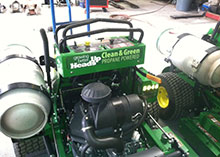 Heads Up Landscape Contractors added John Deere stand-on mowers with propane conversions in 2013 and 2014.