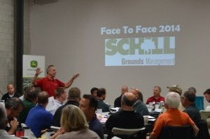 Jim Paluch addresses attendees at the Face to Face event at Schill Grounds Management in September.