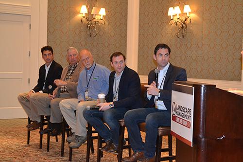 From left: Josh Bare and Dick Bare of Arbor-Nomics; Brad Johnson, LawnAmerica; Matt Noon and Chris Noon of Noon Turf Care. Photo: Noon Turf Care