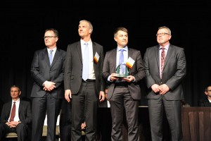 Michelin representatives receive the Deere & Co. Supplier of the Year award during a ceremony in Bettendorf, Iowa. Photo: Michelin