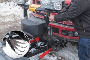 The Automatixx power-assisted attachment system comes standard on the new line of SnowEx truck-mounted plows. Photo: SnowEx