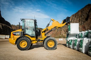 Cat's 908 M Series compact wheel loader is powered by a Cat C3.3B engine.