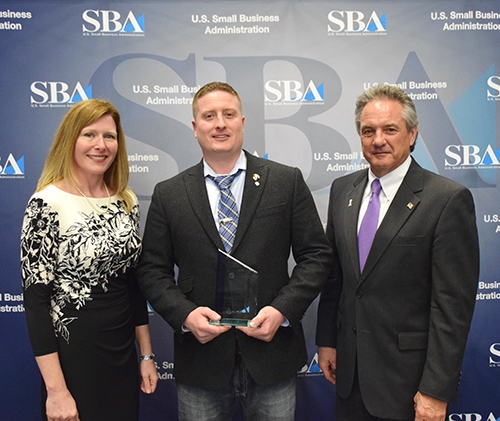 From left: SBA Acting Associate Administrator for the Office of Veterans Business Development Barbara Carson,  Veteran Lawn & Landscape owner Chris Dambach and SBA Syracuse District Director Bernard Paprocki.