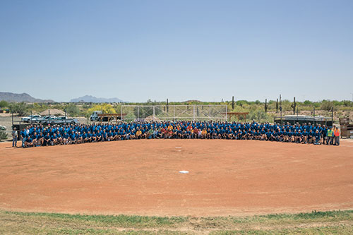 More than 350 Ewing employees worked on the project to renovate a baseball field at Sunshine Acres in 2013. Photo: Ewing Irrigation Products
