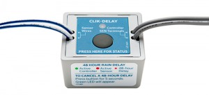 Hunter Industries' Clik-Delay prevents irrigation 48 hours after a rain event.