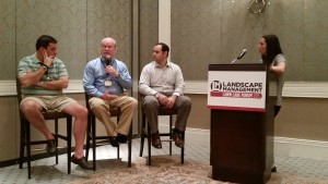 LM Editor Marisa Palmieri leads a panel discussion on engaging, retaining and hiring quality employees at the Lawn Care Forum in Orlando, Fla. Nov. 18.