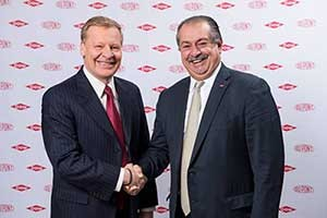 Edward Breen (left), chairman and CEO of DuPont, and Andrew Liveris, president chairman and CEO of Dow.  Photo: Dow Chemical/DuPont
