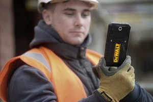 The forthcoming DeWalt Smartphone can be used without removing work gloves. Photo: DeWalt
