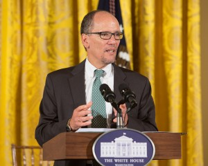 Secretary of Labor Thomas Perez delivers a speech at the White House.