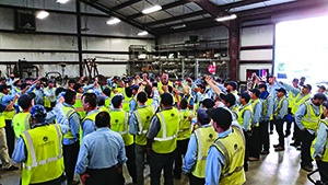 Complete Landsculpture employees at a safety meeting