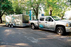 Beach River Landscapes favors enclosed trailers for their marketing ability. (Photo courtesy of Beach River Landscapes)