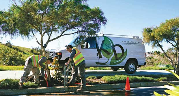Crews and K&D Landscaping truck.Photo courtesy of K&D Landscaping