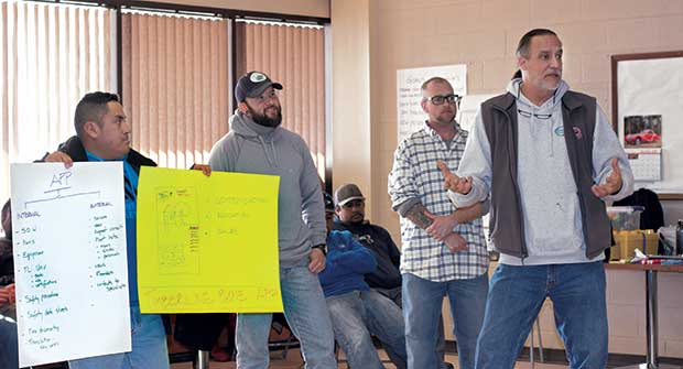 Employees pitching ideas. Photo: Timberline Landscaping