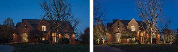 Before and after lighting shot (Photos: McKay Landscape Lighting)