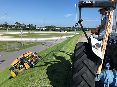 The Spider 2 mowing the banks at Daytona International Speedway. (Photo provided by Dvorak)