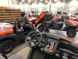 Kubota utility vehicles at its manufacturing facility.