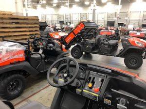Kubota utility vehicles at its manufacturing facility.