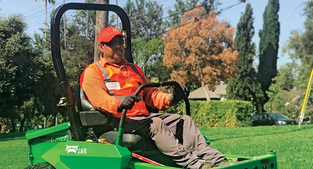 Man on mower (Photo: LandCare Pasadena)