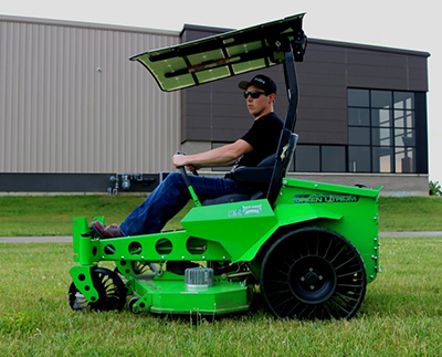 Mean Green mower with X Tweel Turf tires. (Photo: Michelin)