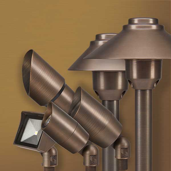 Vista's new Solid Brass fixtures | Photo: Vista Professional Outdoor Lighting