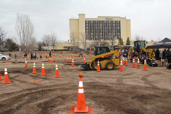 The skid-steer challenge course, sponsored by Caterpillar. (Photo: Seth Jones)