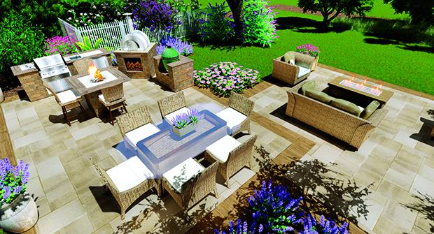 Three-dimensional rendering of patio (Photo: Belgard)