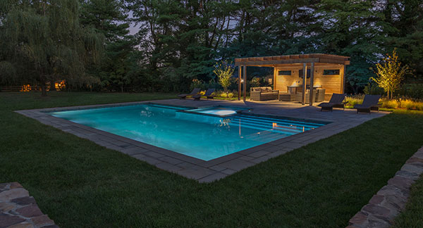 View of pool at night (Photo: Ledden Palimeno Landscape Co.)