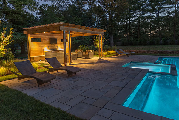 Pool and pergola at night (Photo: Ledden Palimeno Landscape Co.)