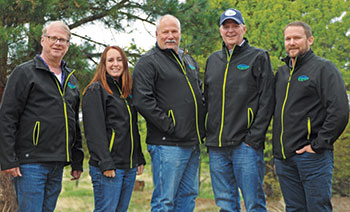 From left: Timberline Landscaping's CFO Craig Nesbit, CSO Stephanie Early, Chairman Tim Emick, CEO Judd Bryarly and COO Josh Pool. (Photo: Timberline Landscaping)