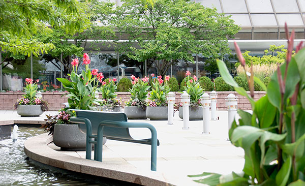 Benches and planters at Landmark Square (Photo: Landmark Square)