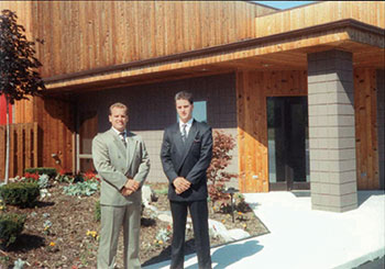 The founders of Todd's Services, Todd (left) and Kurt LaButte, at the opening of their headquarters in 1991. (Photo: Todd's Services)