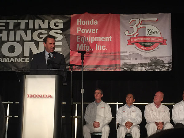 Congressman Mark Walker addresses the 750-plus associates gathered at the HRN216 Series mower unveiling. (Photo: LM Staff)