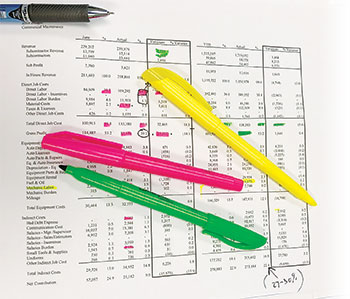 Highlighters and spreadsheet (Photo: Ken Thomas and Ben Gandy)