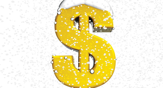 Dollar sign with snow (illustration: iStock.com/fatido)