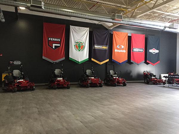 Banners at the Sherrill facility showcase a few brands in the Briggs portfolio. (Photo: LM Staff)