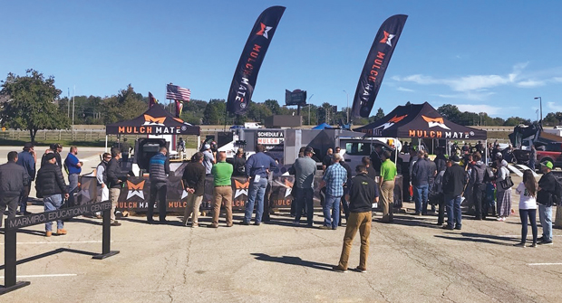 OUT IN DROVES At the 2018 GIE+EXPO, the Mulch Mate demo area was a hot spot for attendees. Photo: GIE+EXPO