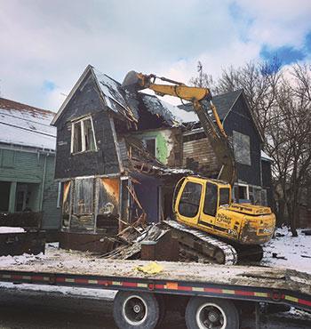 Demolition of a house (Photo: J. Barker Landscaping Co.)