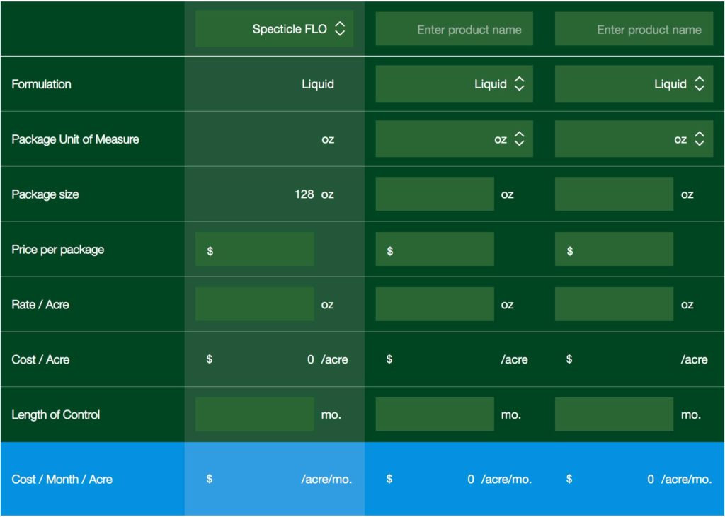 Bayer's Specticle Cost-in-Use Calculator. (Photo: Bayer)