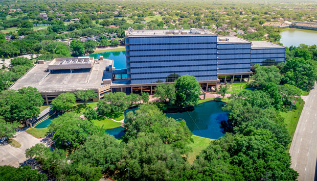 After Hurricane Harvey, the office building closed due to flooding and other issues, which affected the retention of tenants. The client's intent was to renovate the landscaping as quickly as possible. Photo: Bryan Malloch