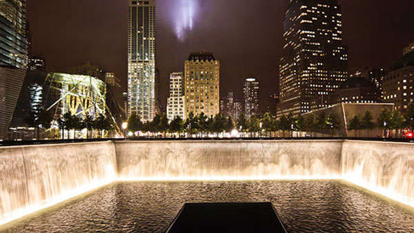 9/11 Memorial at night (Photo courtesy of PWP Landscape Architecture)