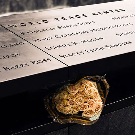 Names at 9/11 Memorial (Photo courtesy of PWP Landscape Architecture)